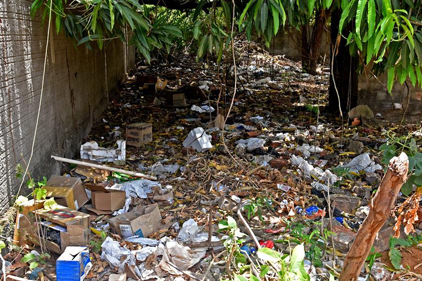 Lixo encontrado atrás do posto de saúde do Povoado Alegria. (Foto: Jailson Soares/O Dia)