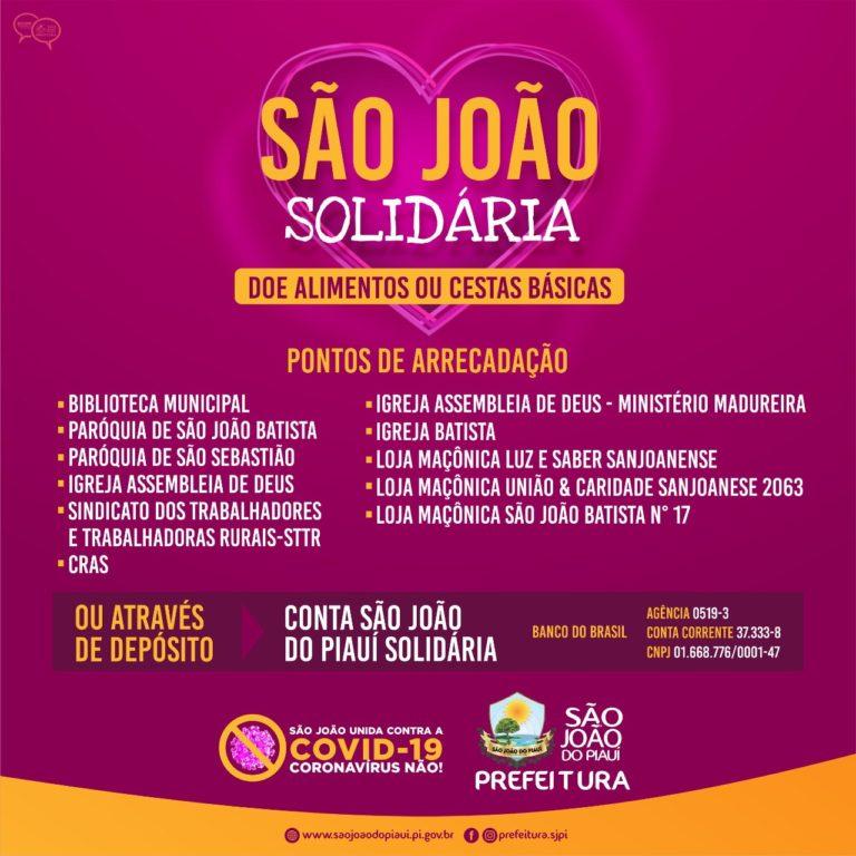 Prefeitura de São João do Piauí lança campanha de arrecadação de alimentos