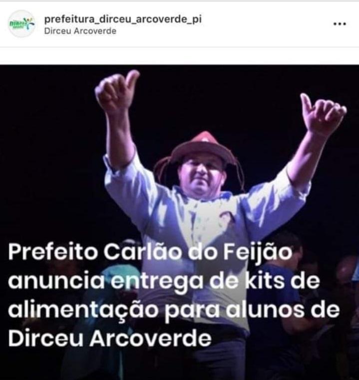 Prefeito de Dirceu Arcoverde usa pandemia do Coronavírus para se promover