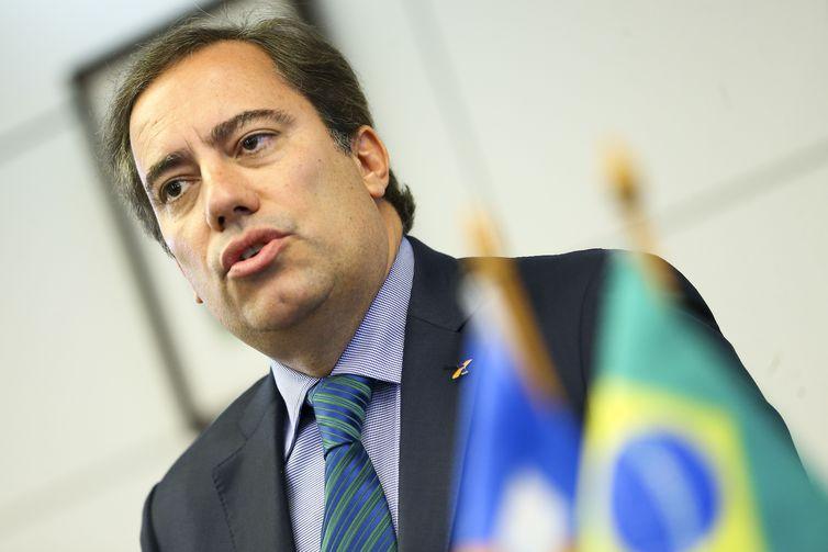 O presidente da Caixa Econômica Federal, Pedro Guimarães, durante entrevista coletiva para apresentar detalhes da campanha de renegociação de dívidas